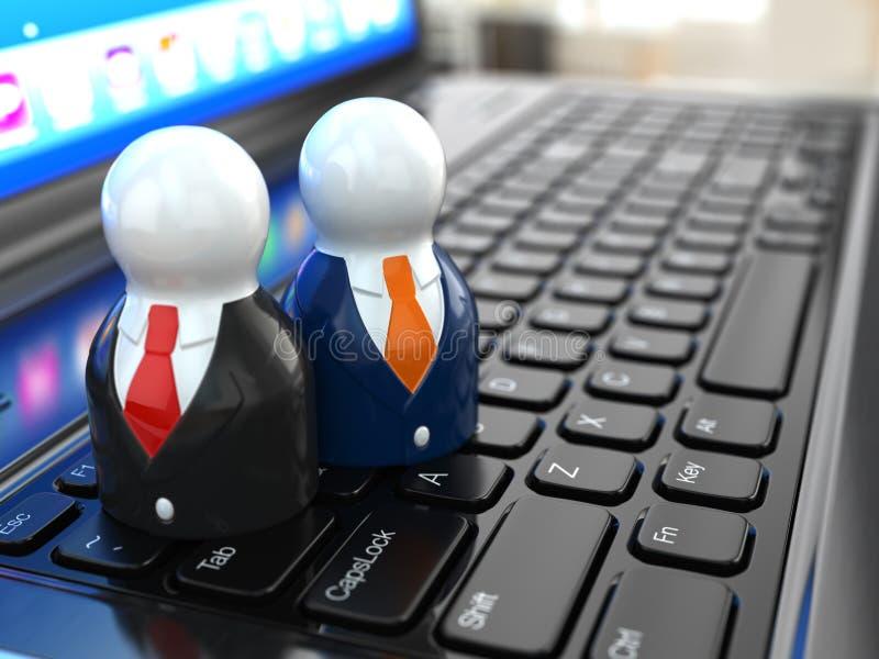 Medios concepto social. Gente en el teclado del ordenador portátil. stock de ilustración