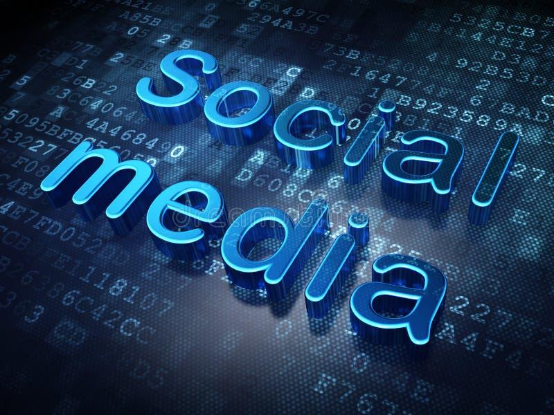 Medios concepto social: Medios sociales azules en digital stock de ilustración