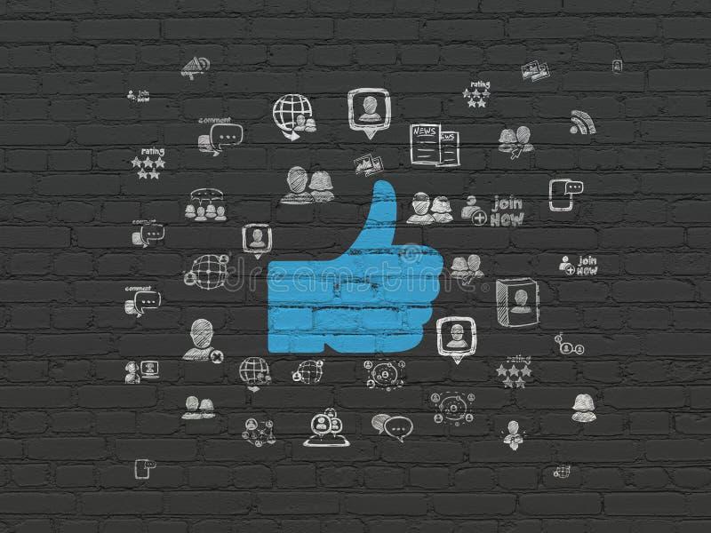 Medios concepto social: Pulgar para arriba en fondo de la pared stock de ilustración