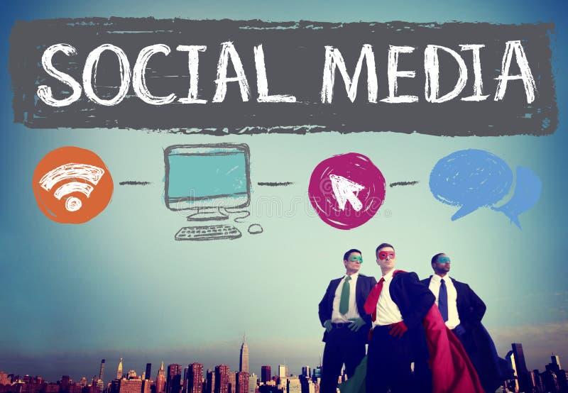 Medios concepto social social de la conexión de la tecnología del establecimiento de una red imágenes de archivo libres de regalías