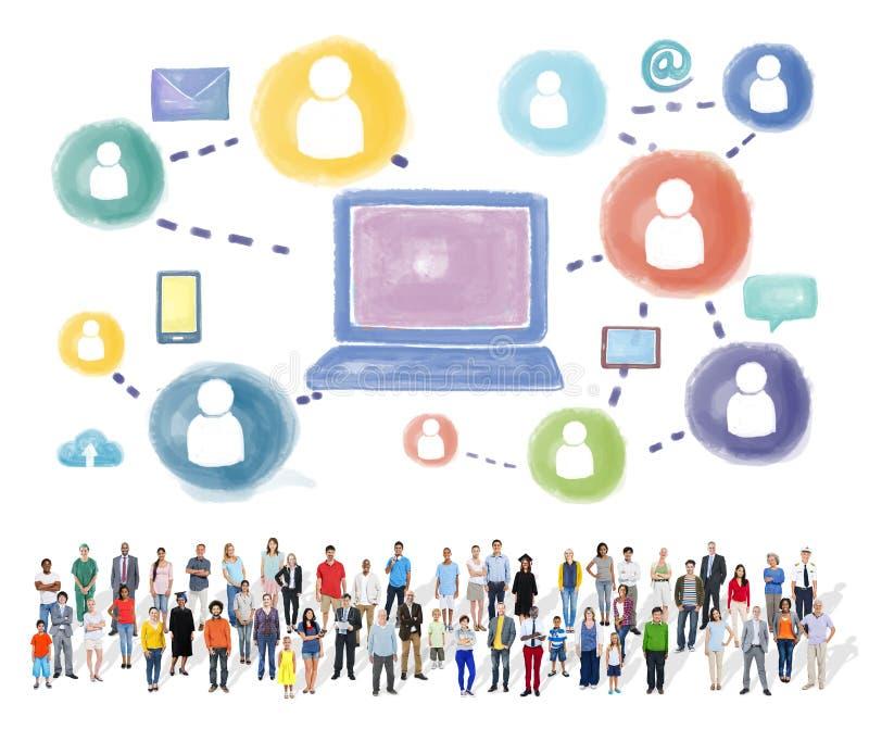Medios concepto social social de la conexión de la tecnología del establecimiento de una red fotos de archivo