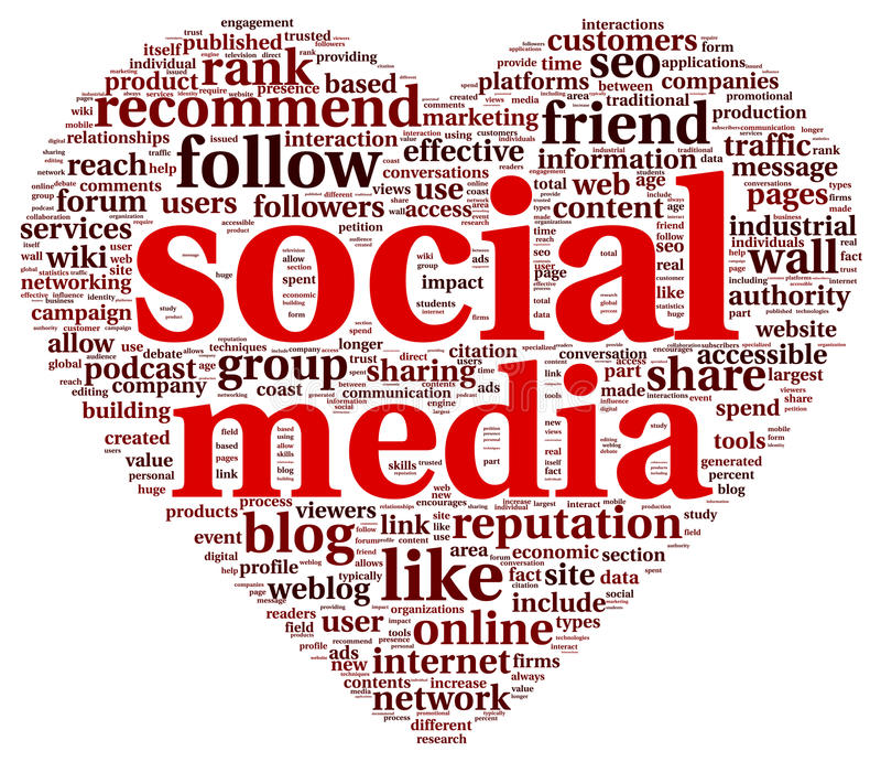 Medios conept social del amor en nube de la etiqueta de la palabra ilustración del vector