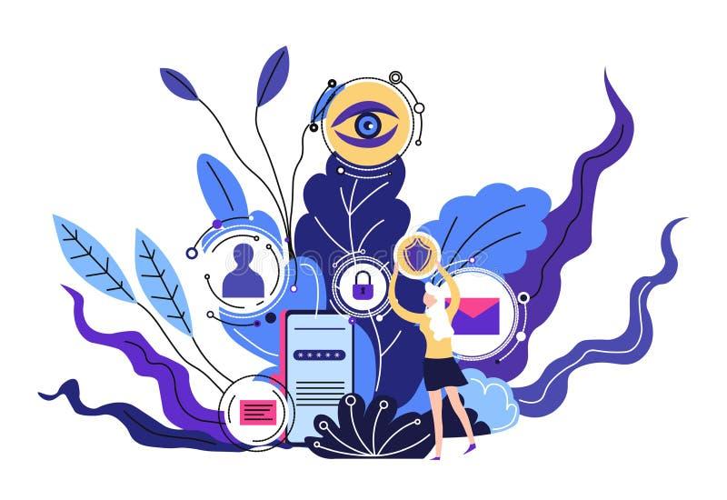 Medios contactos y sistema de seguridad de móvil de la protección de los mensajes libre illustration