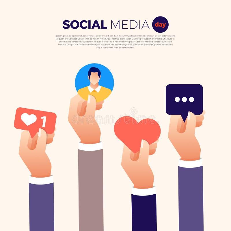 Medios día social ilustración del vector