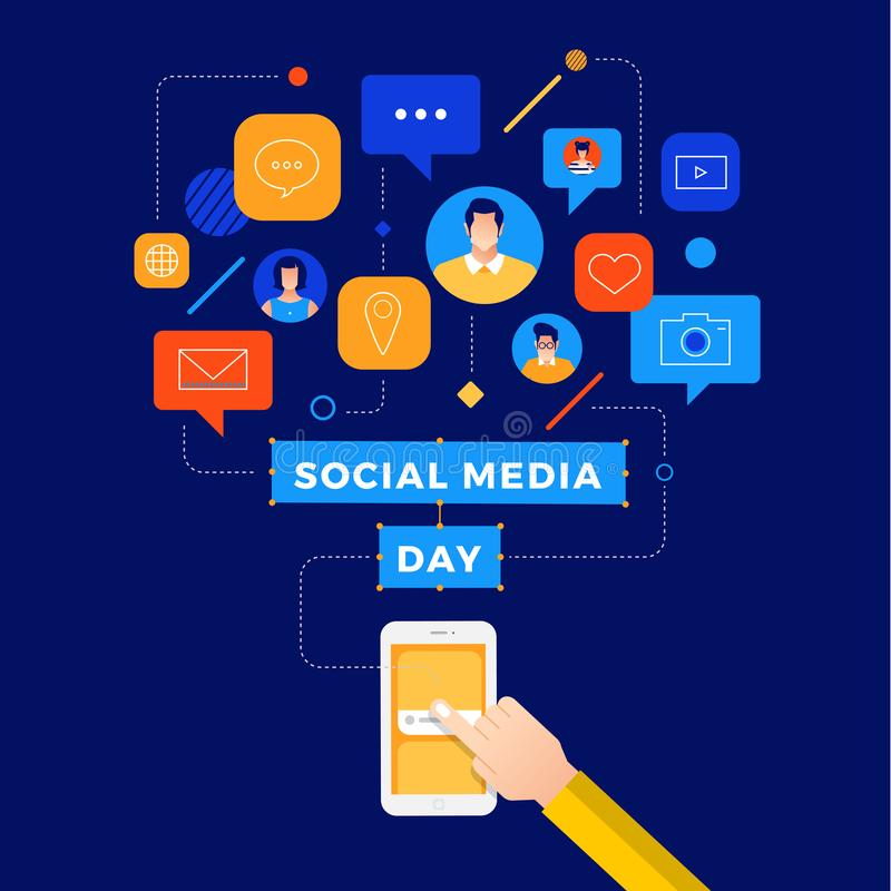 Medios día social stock de ilustración