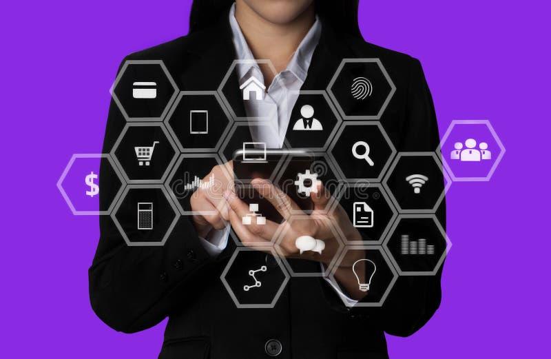 Medios de comercializaci?n de Digitaces en icono virtual imagen de archivo libre de regalías