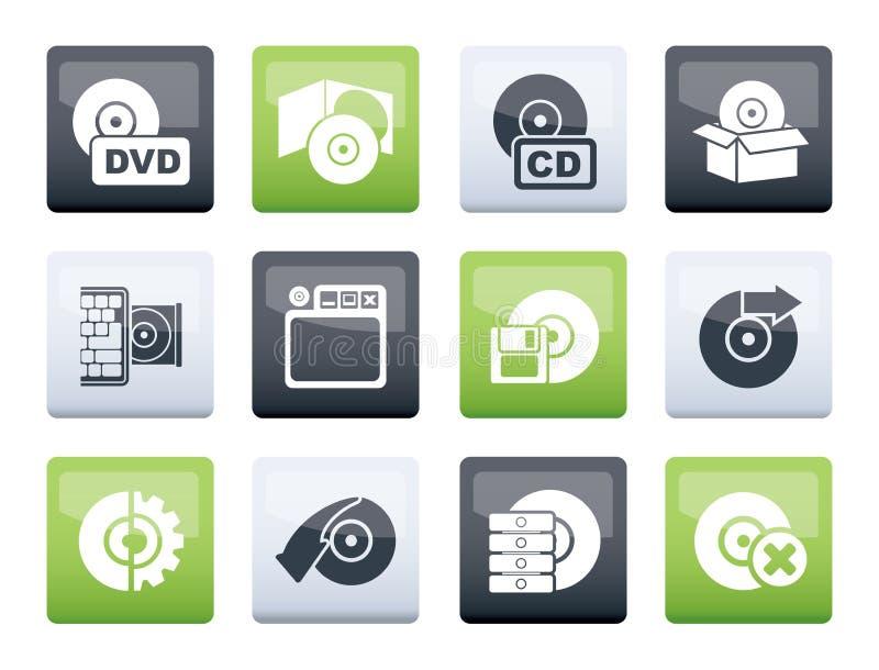 Medios del ordenador e iconos del disco sobre fondo del color ilustración del vector