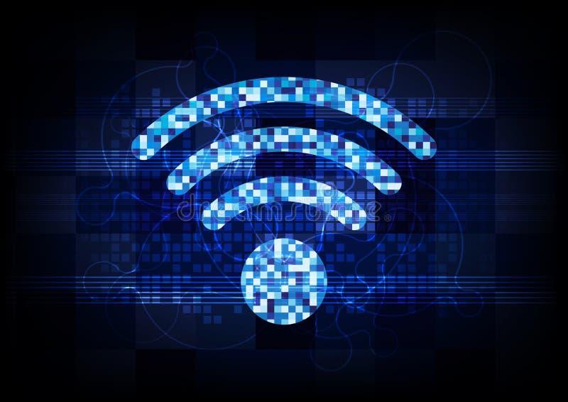 Medios del ordenador del fondo de la comunicación de la tecnología del vector, red inalámbrica digital de la señal del extracto ilustración del vector
