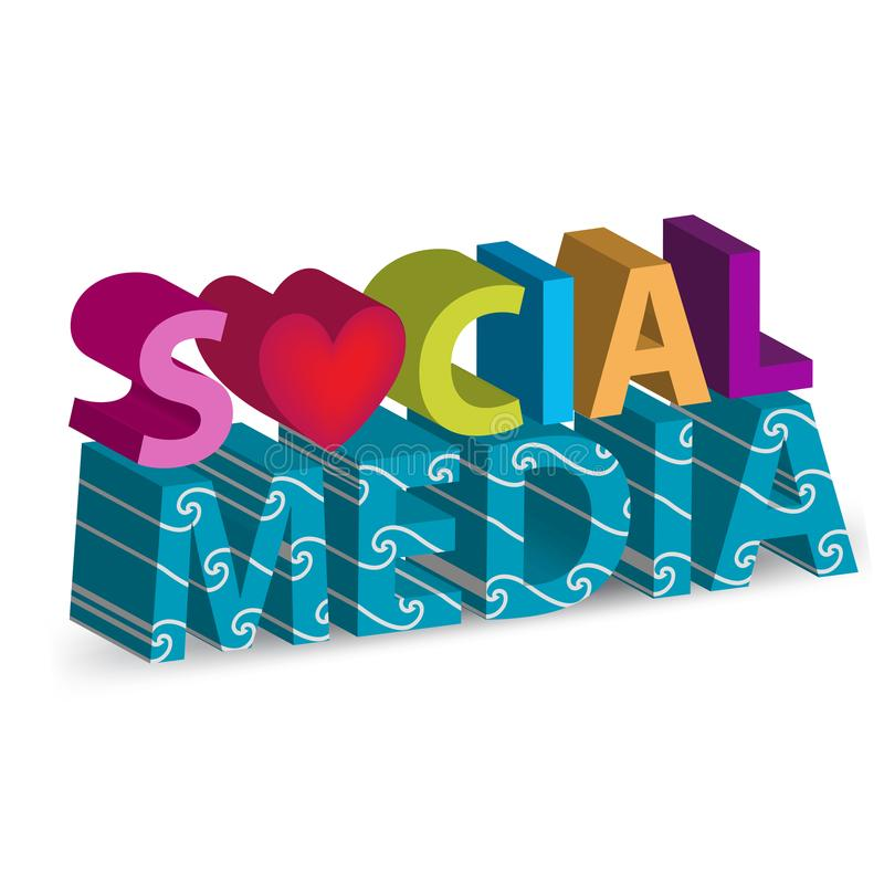 Medios diseño social del fondo del vector de la imagen de la palabra 3D libre illustration