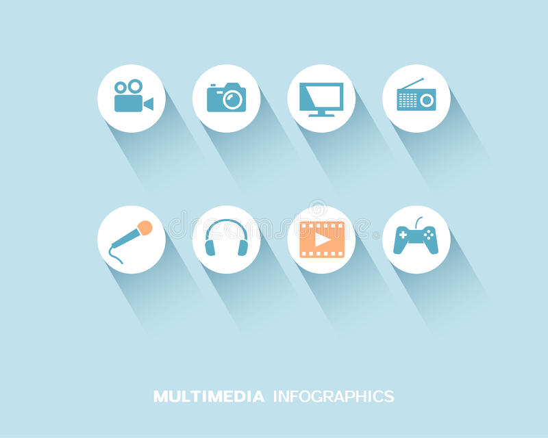 Medios dispositivo infographic con los iconos planos fijados libre illustration
