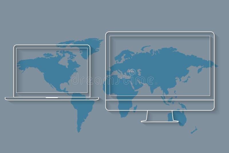 Medios dispositivos como el equipo de escritorio y el ordenador portátil en el mapa del mundo libre illustration