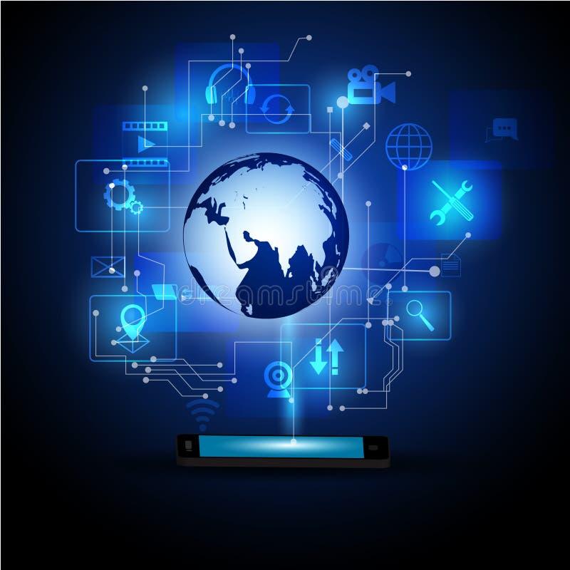 Medios ejemplo de la tecnología con el teléfono móvil y los iconos ilustración del vector