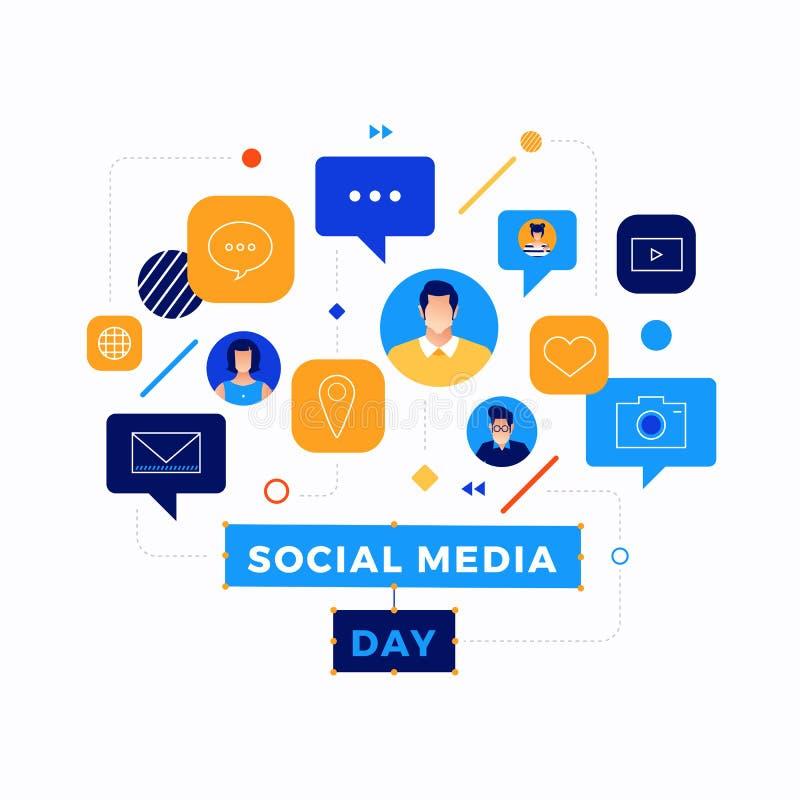 Medios ejemplo social del vector del día Gente de conexión así como tecnología punta ilustración del vector
