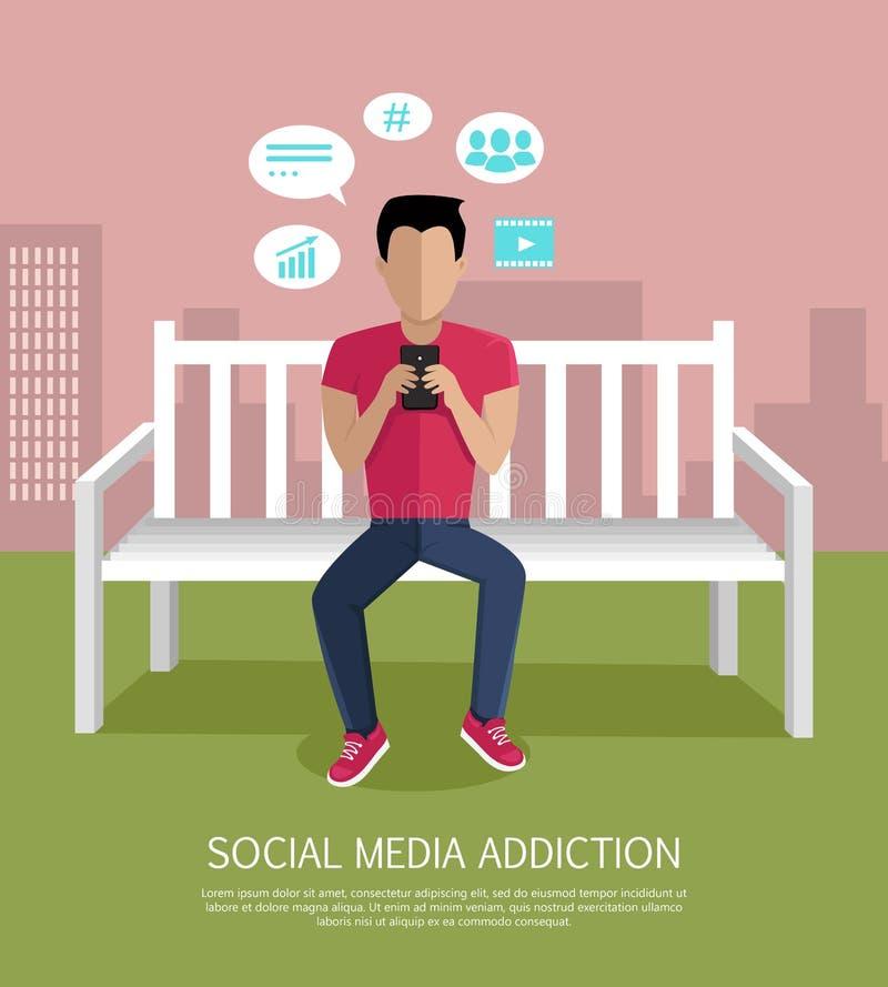 Medios ejemplo social del vector del concepto del apego stock de ilustración