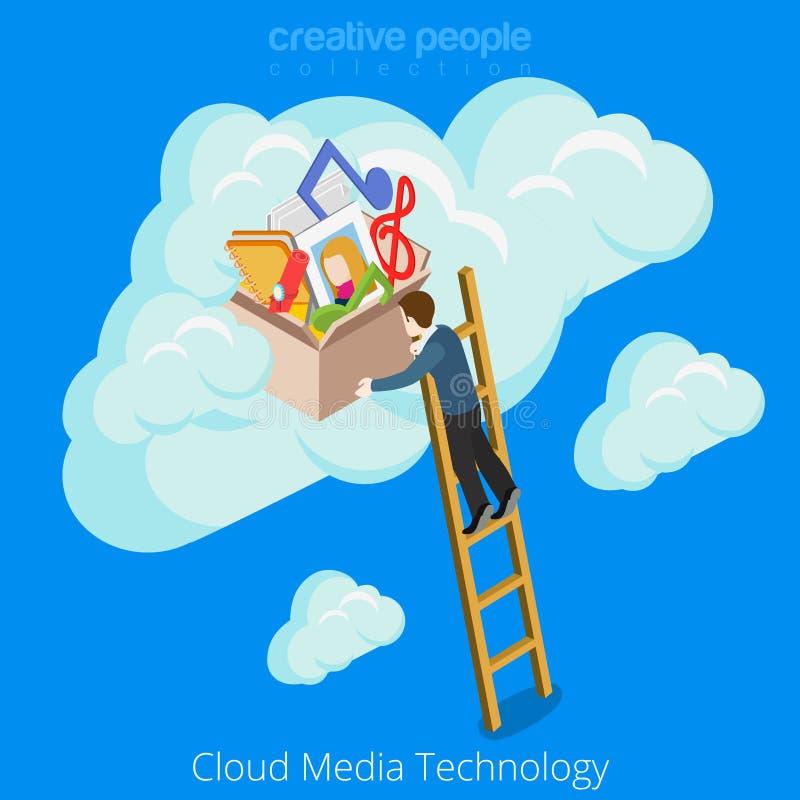 Medios enfermedad del vector del sitio web del concepto de la tecnología de la nube libre illustration