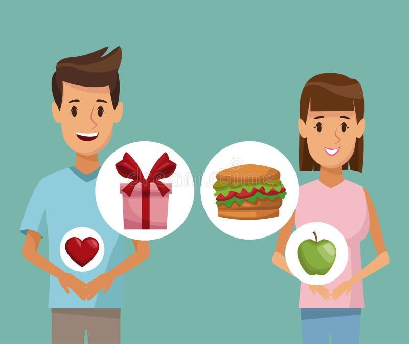 Medios hombre de los pares del cuerpo del cartel colorido y mujer e icono de los regalos sanos de la comida de los elementos stock de ilustración