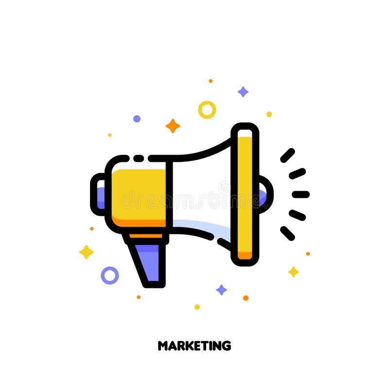 Medios icono del negocio del márketing de Digitaces con el megáfono Fille plano ilustración del vector