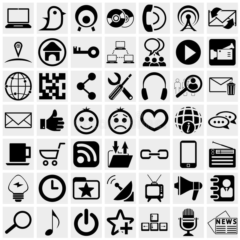 Medios icono social del vector fijado en gris stock de ilustración