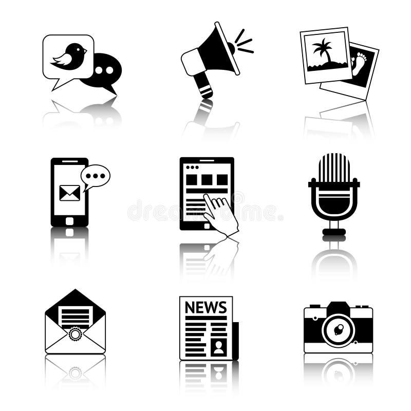 Medios iconos blancos y negros stock de ilustración