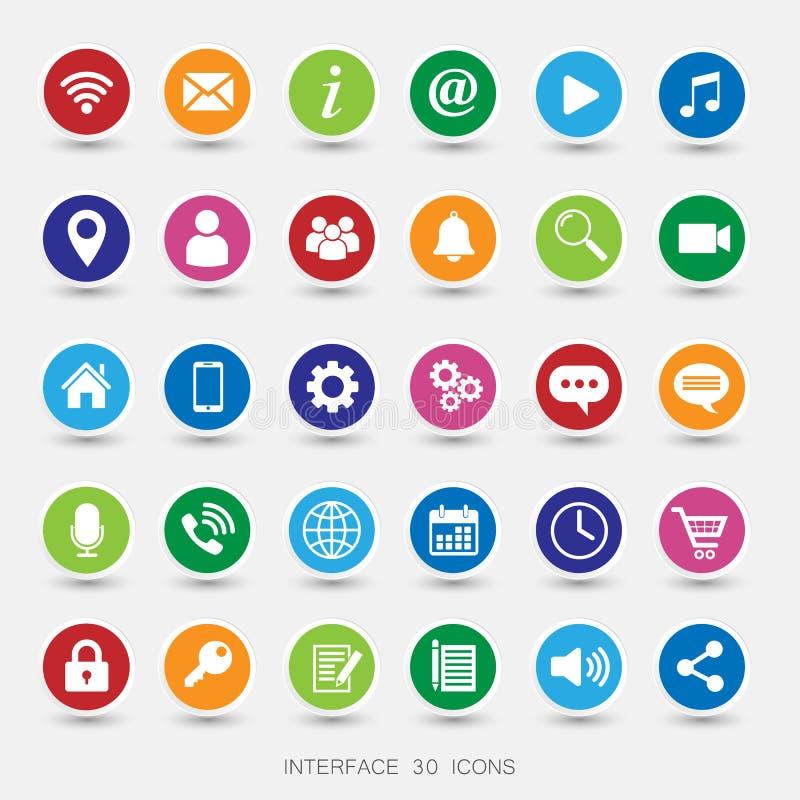 Medios iconos coloreados stock de ilustración