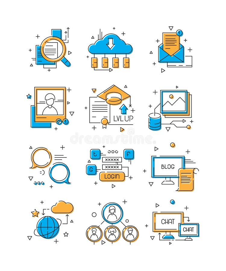 Medios iconos de Digitaces Márketing social, grupo de la gente de la comunidad a la línea coloreada ilustrativa de la conexión mó stock de ilustración