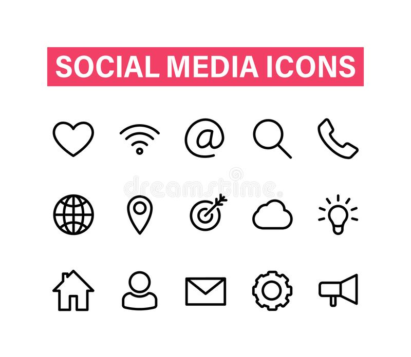 Medios iconos lineares sociales fijados Iconos para el negocio, actividades bancarias, contacto, medio social, tecnología, seo Lí libre illustration