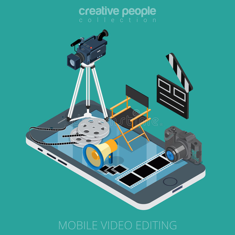 Medios iconos que corrigen VE del movimiento video isométrico plano ilustración del vector