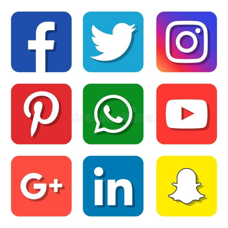 Medios iconos sociales ilustración del vector