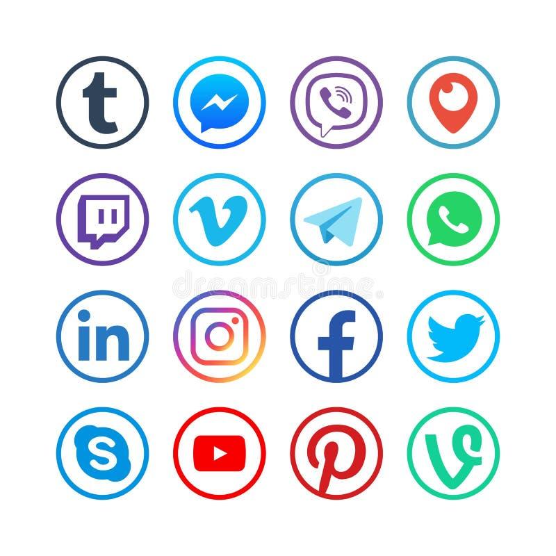 Medios iconos sociales Botones sociales del vector de la red de la web popular de los medios ilustración del vector