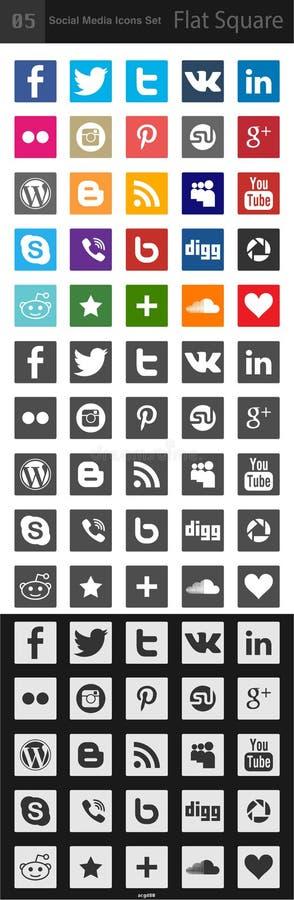 Medios iconos sociales - cuadrado libre illustration