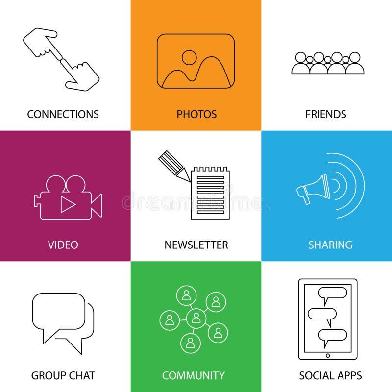 Medios iconos sociales de los amigos, de la comunidad, de los vídeos y de las fotos - concentrados libre illustration