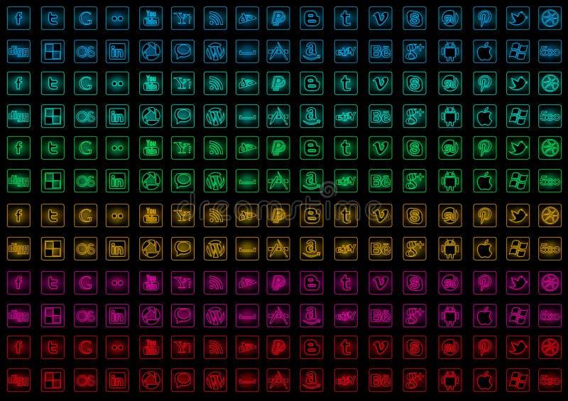 Medios iconos sociales metálicos que brillan intensamente ilustración del vector