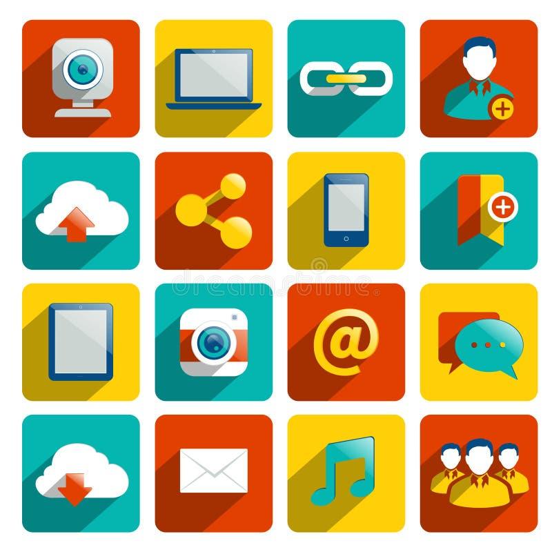 Medios iconos sociales planos stock de ilustración