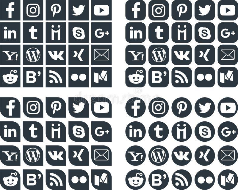 Medios iconos sociales 1 libre illustration
