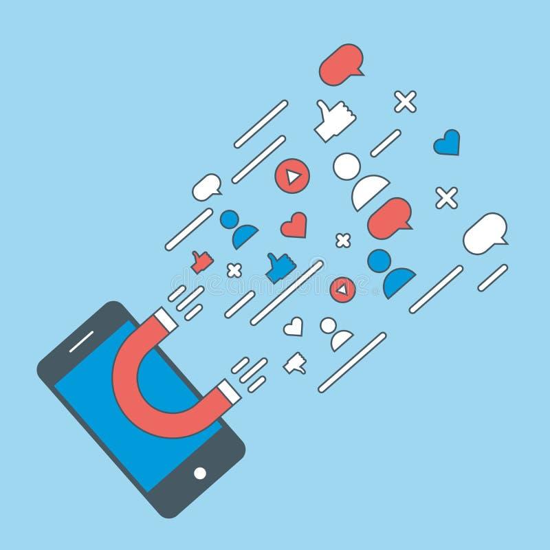 Medios imán e influencer digitales en línea Vector el concepto del ejemplo del fondo para el renombre, gustos, comentarios, segui libre illustration