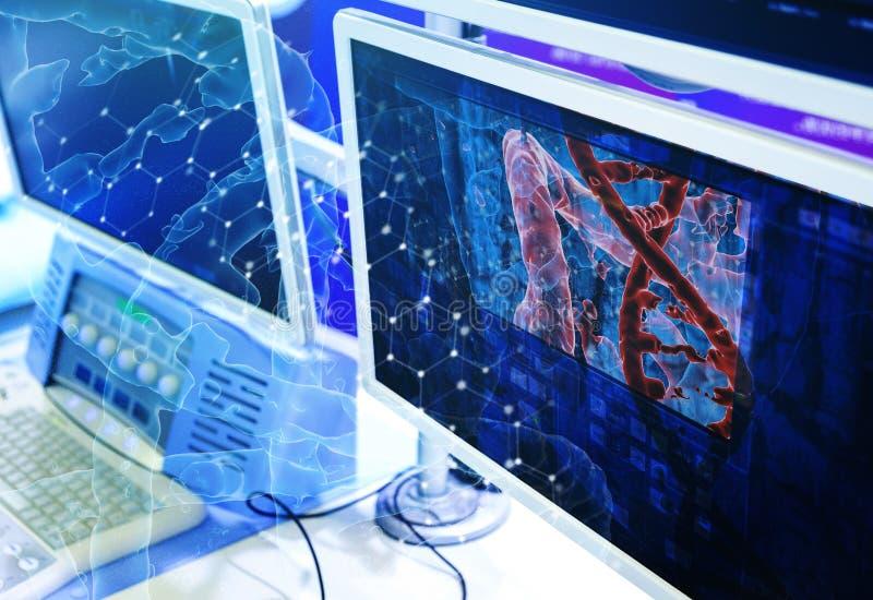 Medios imagen de fondo de la medicina como concepto de la investigación de la DNA, 3D que rinde monitores del equipo en el depart libre illustration