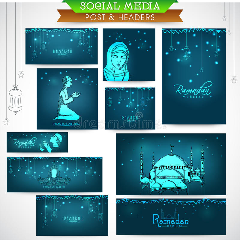 Medios jefe o bandera social para la celebración de Ramadan Kareem libre illustration