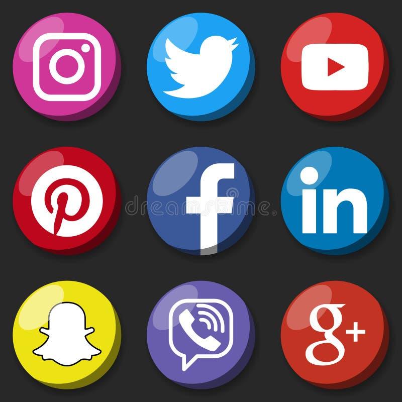Medios logotipo social redondo o medios sistema social de la plantilla del icono Botón social del web de la red ilustración del vector