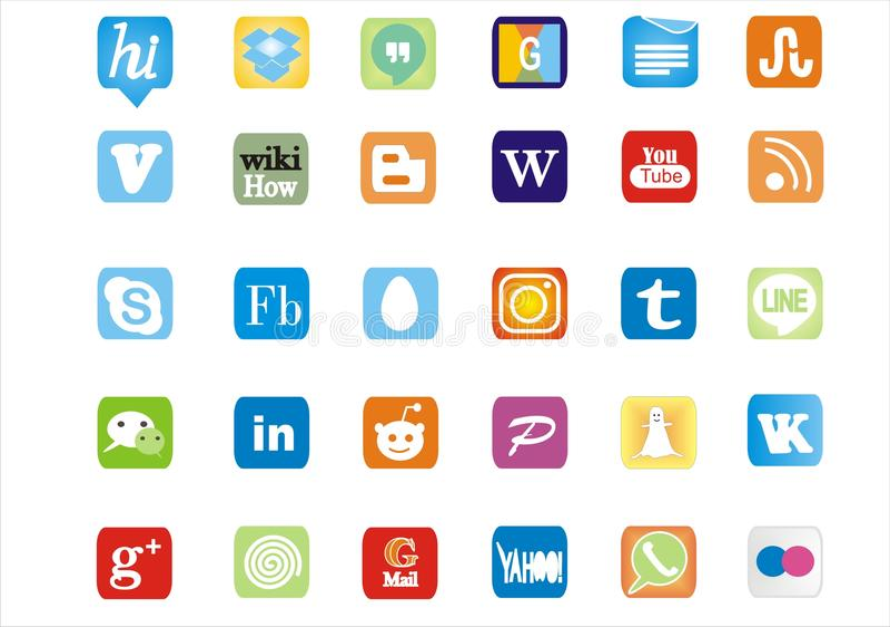 Medios logotipos y iconos sociales famosos y de moda stock de ilustración