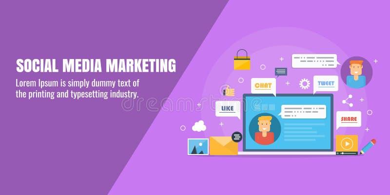 Medios márketing social, campaña de marketing digital, anuncio en línea, edificio de la red, concepto de distribución contento so stock de ilustración