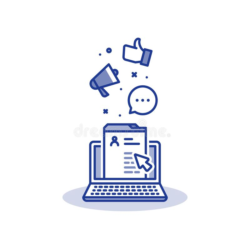 Medios márketing y promoción sociales, desarrollo del sitio web, página en línea del perfil, línea icono del ordenador portátil ilustración del vector