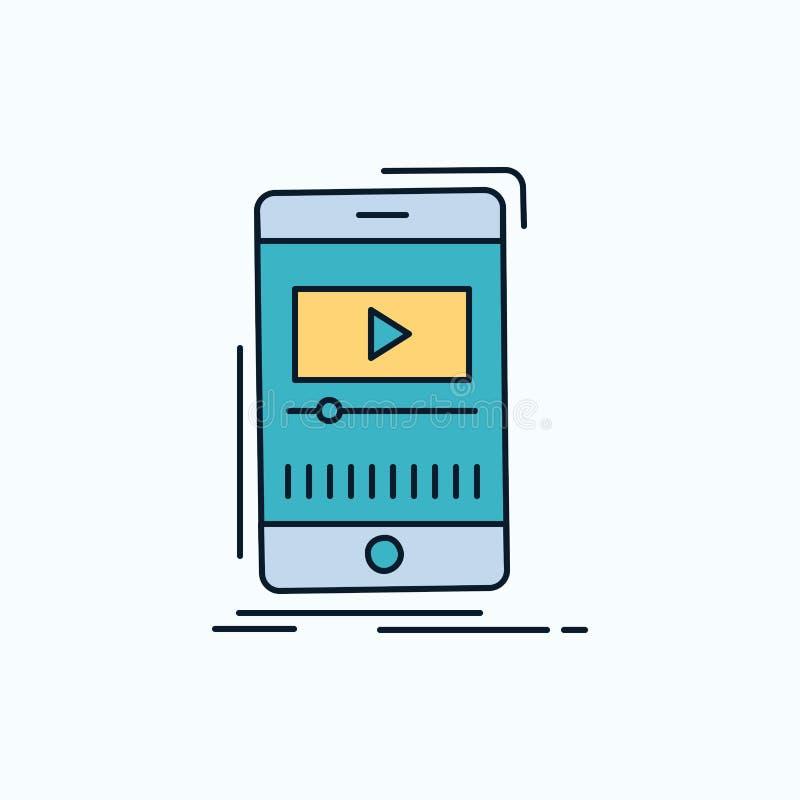 medios, música, jugador, vídeo, icono plano móvil muestra y s?mbolos verdes y amarillos para la p?gina web y el appliation m?vil  stock de ilustración