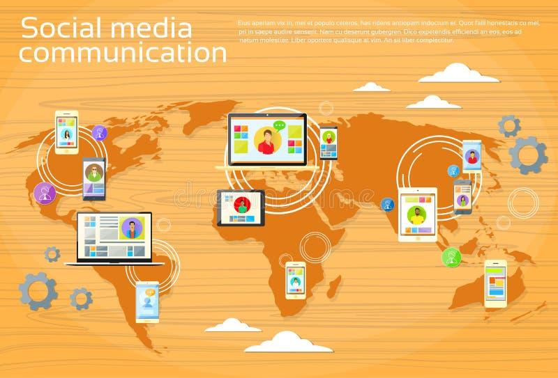 Medios mapa del mundo social de la gente de la comunicación global stock de ilustración