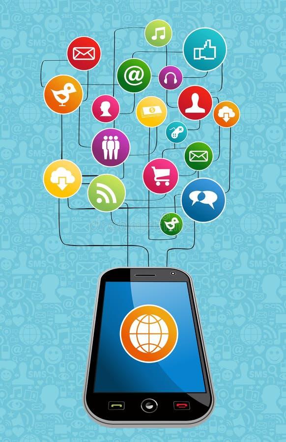 Medios movilidad social global stock de ilustración