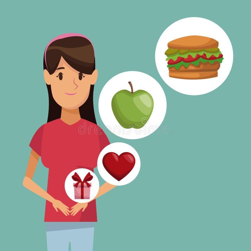 Medios mujer del peinado del registro del cuerpo del cartel colorido e icono de los regalos sanos de la comida de los elementos libre illustration