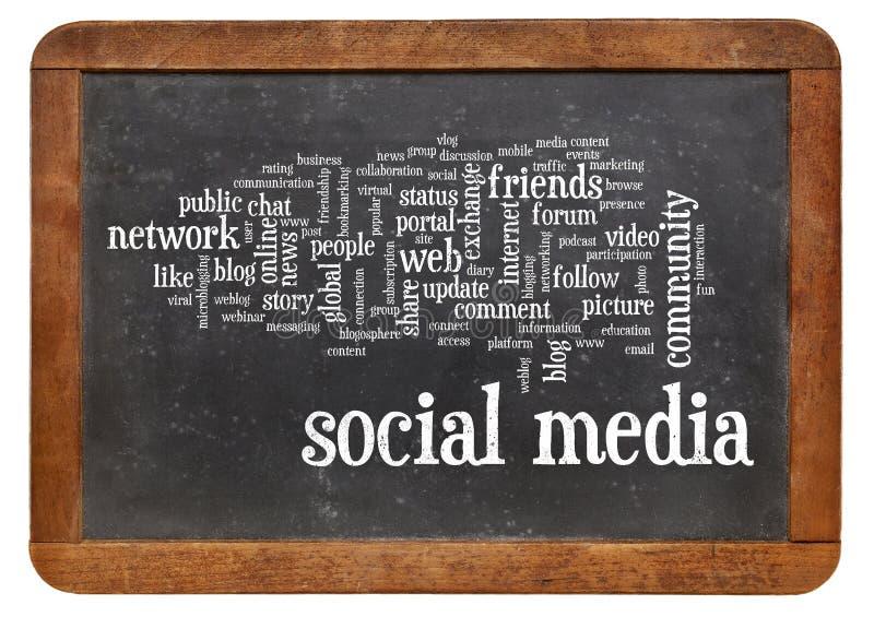 Medios nube social de la palabra en la pizarra imagen de archivo libre de regalías