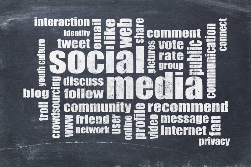 Medios nube social de la palabra en la pizarra foto de archivo libre de regalías