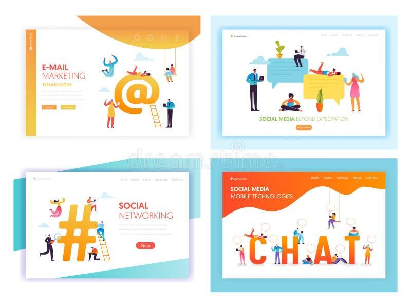 Medios página social del aterrizaje del concepto del establecimiento de una red libre illustration