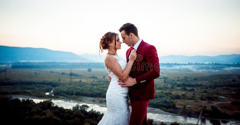 Medios pares hermosos encantadores horizontales del recién casado del retrato de boda de la longitud que abrazan blando el río de imagen de archivo