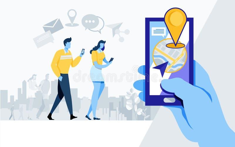 Medios parte social Comunidad en línea como, parte, uso, ubicación, navegación, vector plano del ejemplo de la historieta stock de ilustración
